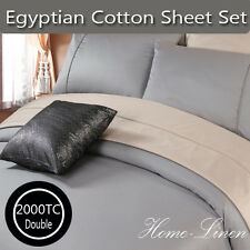 Luxury 2000TC Egyptian Cotton Collection DOUBLE BED SHEET SET 10 COLORS -Pewter