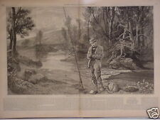 Print,Trout Fishing - The First Cast of the Season 1878