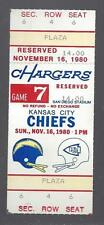 1980 NFL KANSAS CITY CHIEFS @ SAN DIEGO CHARGERS FULL UNUSED FOOTBALL TICKET