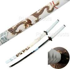 "40"" Katana Sword White/Gold DRAGON Art Carbon Steel Collectible Samurai Ninja"
