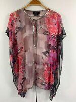 Wayne Cooper Womens Gorgeous Floral Kaftan Tunic Top Size 10