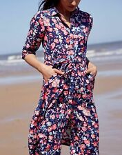 Joules Womens Winslet Long Sleeve Button Front Shirt Dress - Navy Floral - 16