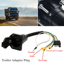 4 Way Flat To 7-Way Round RV Blade Wiring Adapter Plug Car RV Trailer Hitch Set