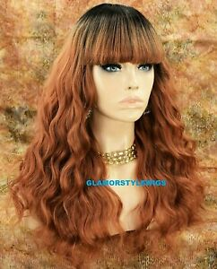 Human Hair Blend Full Wig Long Wavy Layered W Bangs Ombre Brown Light Copper Mix