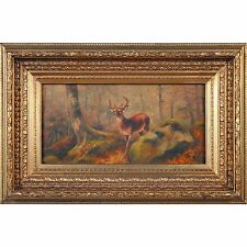 FTN030-ANI033-2, Niagara Furniture, Stag in Woods Oil Painting, Oil Paintings