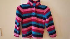 LITTLE JOULES multi pink stripe button pullover WOOZLE soft fleece top SIZE 7