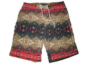 Rare Polo Ralph Lauren Brown Red Beacon Western Print Swim Board Shorts Suit 32