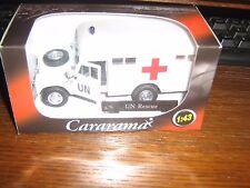 CARARAMA DIE CAST-Land Rover Serie 3 109-Caja de las Naciones Unidas librea de ambulancia-Blanco 1:43