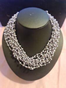 Pretty Multi Strand Faux Pearl Necklace Costume Jewellery