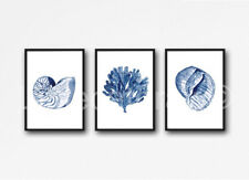 Sea Coral and Seashells Set of 3 Watercolour Painting PRINT 8x10 Wall Art