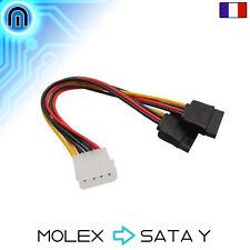 Cable Adaptateur SATA - MOLEX 4 PIN vers double SATA sata Y x2 alimentation
