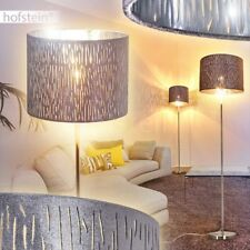 Retro Lese Wohn Schlaf Raum Lampen Steh Stand Boden Beleuchtung Samt grau/Silber