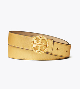 "Tory Burch NEW 1"" Gold Twisted Logo Belt Small $178 Hard To Find!"