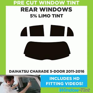 Pre Cut Window Tint - Daihatsu Charade 5-door 2011-2016 - 5% Limo Rear