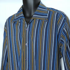 EQUILIBRIO Long Sleeve Shirt Mens Sz XL Blue Striped Made in Italy