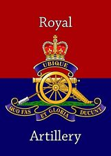 ROYAL ARTILLERY CAP BADGE PRINTED ON A METAL SIGN 5 x 7 INCHES.