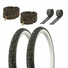 26x2.125 Beach Cruiser Bike Low rider Tires tubes and rim strip Black  and White