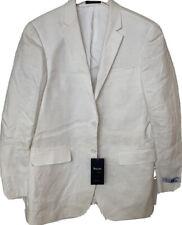NWT TIGLIO LUXE 100% linen white novello suit 38R 30 x unhemmed