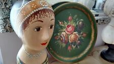 French Vintage Hand Painted Floral Toleware Round Metal Tray very Aubusson