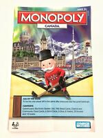 Monopoly Canada Electronic Banking Game 2009 Replacement Parts RULES BOOK Only