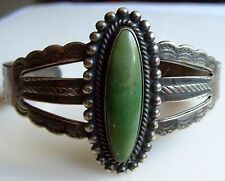 Navajo Green Turquoise Stamped Sterling Silver Bracelet Navajo 1 1/2 Wide