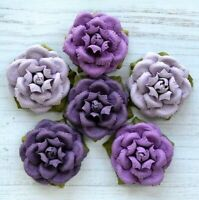 Italian Options - 6 x Purple Handcrafted Paper Flowers 4cm Craft Embellishments