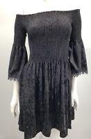 Kobi Halperin Dress Small Black Velvet Shift Donella Off Shoulder