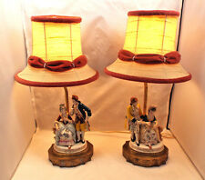 Vintage Porcelain Courting Couple Figurines on Metal Bases Pair of Lamps