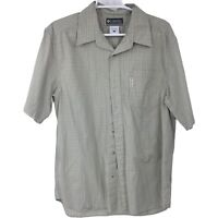 Columbia XCO Mens L Large Green Plaid Short Sleeve Button Up Shirt Adult Casual