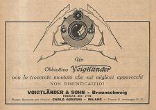 W2800 Obbiettivo fotografico VOIGTLAENDER - Pubblicità del 1939 - Old advert