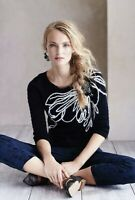 $119 Anthropologie Field Flower Ivory Bloom Black White Embroidered Pullover S