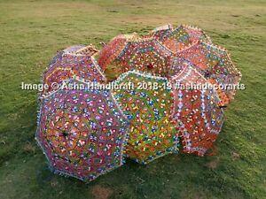 Indio Handmade Completo Bordado Paraguas Étnico Decorativo Mehandi Fiesta
