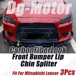 Fits Mitsubishi Lancer GT Evo Front Bumper Lip Splitter Carbon Fiber Look