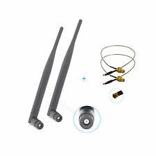 2 6dBi Dual Band RP-SMA WiFi Antenna + 2 U.fl Mod kit Extension Bulkhead Pigtail