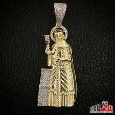 Mens Yellow Gold Finish .925 Silver Pendant Charm Patron Saint Barbara Protector