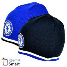 CHELSEA KNITTED BLUE BLACK BEANIE CAP HAT REVERSIBLE FOOTBALL SOCCER CLUB NEW