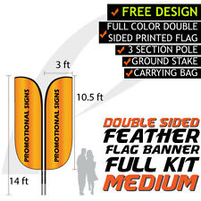 14FT Full Color Feather Double Sided Custom Flag Banners w/Fiberglass Pole kit