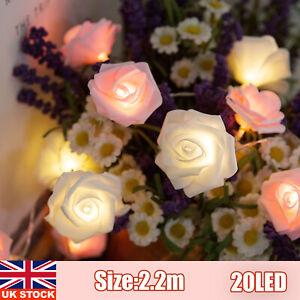 20LED 2.2M Rose Flower Lights String Fairy Wedding Christmas Party Garden Decor