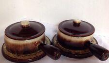 Canonsburg Pottery BROWN DRIP Individual Soup Serving Bowls Lids Coaster Set / 2