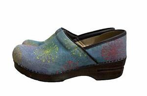 Dansko Denim Starburst Professional Clogs Shoes Boho Slip On Eu 38