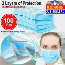 100PCS Face Mask Non Medical Surgical Disposable 3Ply Earloop Mouth Cover - Blue