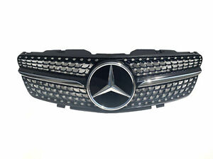 2003-2006 MERCEDES SL R230 DIAMOND STYLE GRILL BLACK W/CHROME SL500 SL55 AMG NEW