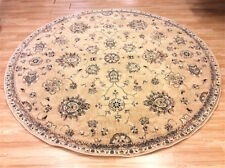 Vintage Faded BEIGE Traditional Afghan Ziegler Des. Wool Round Rug 240cm -50%OFF