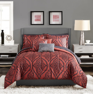 Red Black Damask Paisley 8-Piece Bed in a Bag Twin/TwinXL Bedding Set Medallion