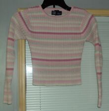 Girls SO Crop Sweater Size S (7-8) Pinks White Silvery Gray