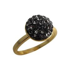 Gray Shamballa Inspired Pave Crystals Yellow Gold-Tone Sterling Silver Ring (5)