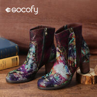 SOCOFY Women's Leather Flowers Pattren Tasseled Ankle Boots High Heel Zip Shoes