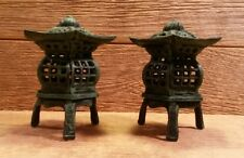 "Cast Iron Footed Pagoda Lantern 7"" Tall (Set of 2) Garden Decor 0170K-14019"