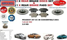 FOR PEUGEOT 307 CC CONVERTIBLE 2003- 249MM REAR BRAKE DISCS SET + DISC PADS KIT