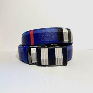 Mens Kavali Adjustable Ratchet Belt Blue Pink White Black Plaid Checker Pattern